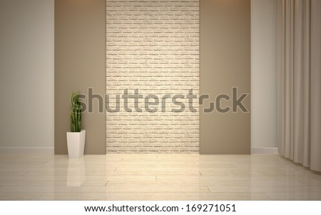 Modern living room bright beige shades - stock photo