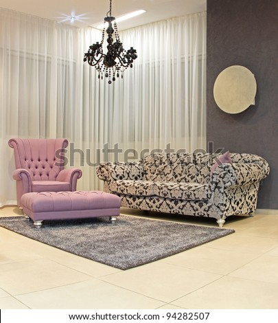 Modern living room corner with vintage furniture - stock photo