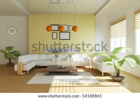 modern living room.3d render - stock photo