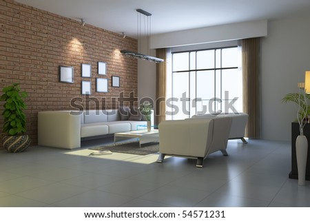 modern living room.3d render