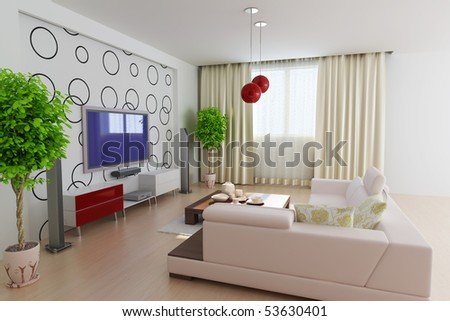 Modern Living Room 3 D Render I Designer Wallpaper Stock