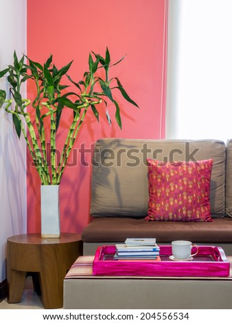 Modern Living Room Decorated Sofa Vase Stock Photo (Royalty Free ...