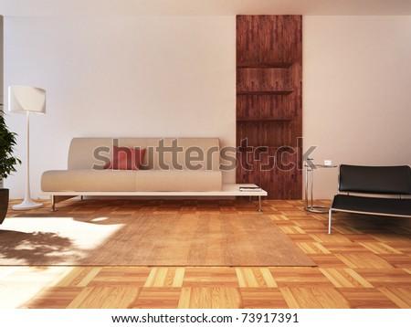 Modern living room design in 3D rendering - stock photo