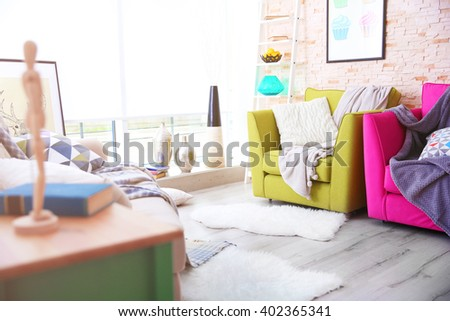 Modern living room design with sofa and armchairs - stock photo
