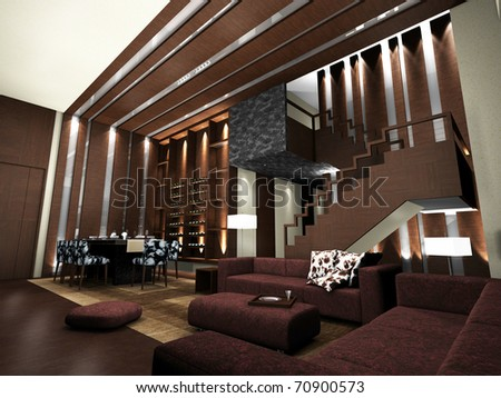Modern living room design with table and sofas rendering - stock photo
