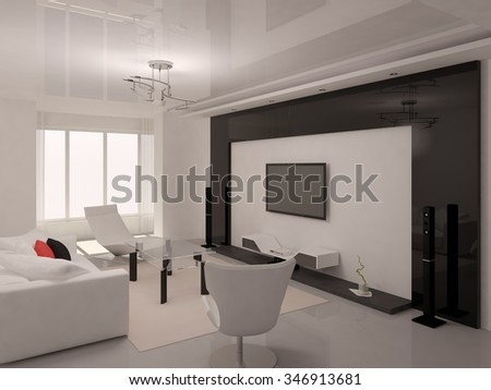 Modern living room in a minimalist style, 3d rendering. - stock photo