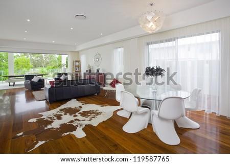 Modern living room in Australian mansion - stock photo