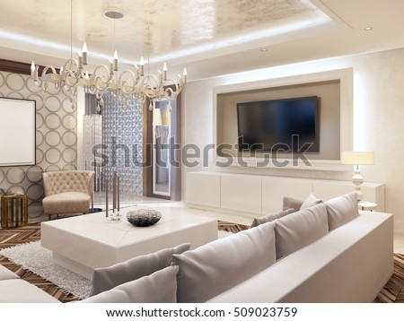 Modern Living Room In White Colors With Integrated Storage For The TV.  Large Corner Sofa