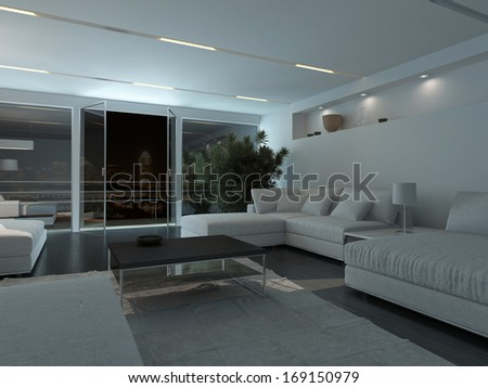 Modern living room interior at night - stock photo