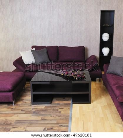 modern living room interior atstylish furniture and sofa - stock photo