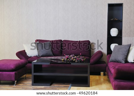 modern living room interior atstylish furniture and sofa - stock photo