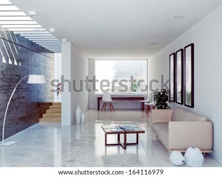 modern living room interior. contemporary concept  - stock photo