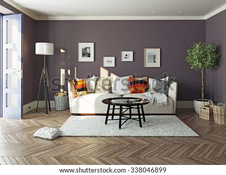 modern living room  interior.3d design concept - stock photo