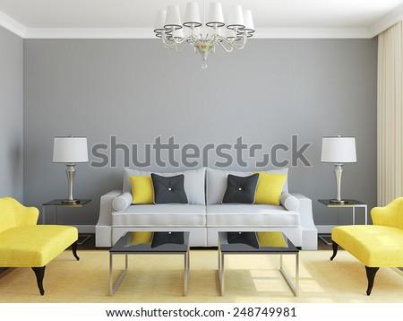 Modern living-room interior.3d render.  - stock photo