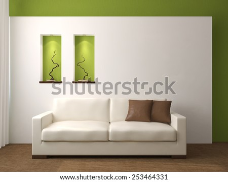 Modern living-room interior. 3d render. - stock photo