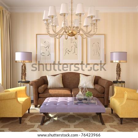 Modern living-room interior. 3d render. - stock photo