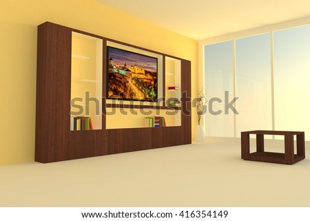 Modern living room interior 3d rendering