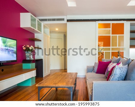 Modern living room interior decorated with vintage furniture - stock photo