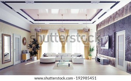 Modern living room interior design .3d concept - stock photo