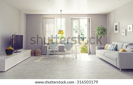modern living room  interior design. 3D rendering concept - stock photo
