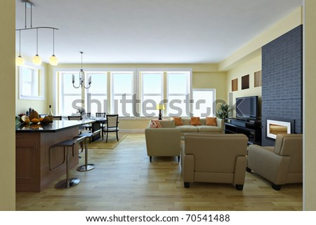 Modern living room. Interior design idea. - stock photo