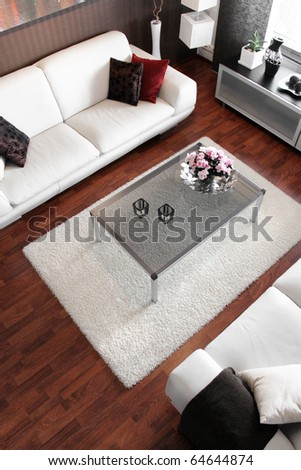 Modern living room interior high view angle - stock photo