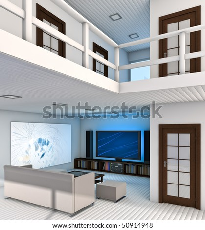 Modern Living Room interior. Made in 3D.