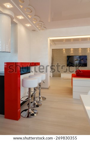Modern living room interior nobody. - stock photo