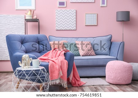 Modern Living Room Interior Blue Armchair Stock Photo (Download Now ...