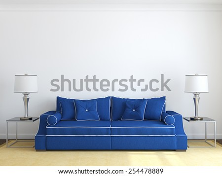 Modern living-room interior with blue couch near white wall. Frontal view. 3d render. - stock photo