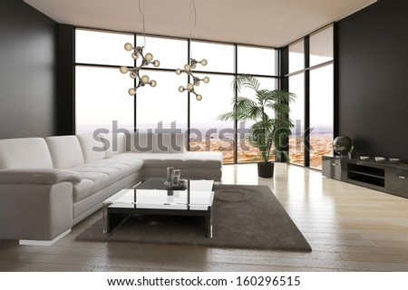 Modern Living Room Interior with Desert View - stock photo