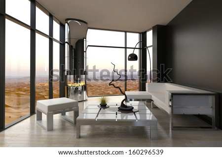 Modern Living Room Interior with Desert View