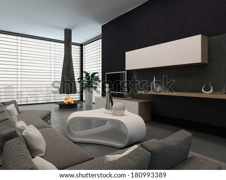 Modern living room interior with fireplace - stock photo