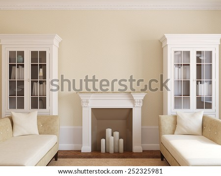 Modern living-room interior with fireplace. 3d render. - stock photo
