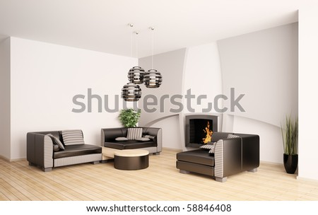 Modern living room interior with fireplace 3d render - stock photo