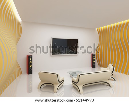 Modern living room interior with futuristic furniture