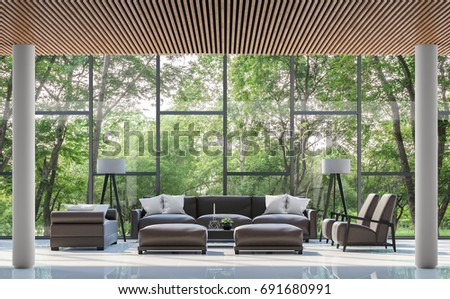 Modern Living Room Interior With Garden View 3d Rendering Image.There Are  White Floor,