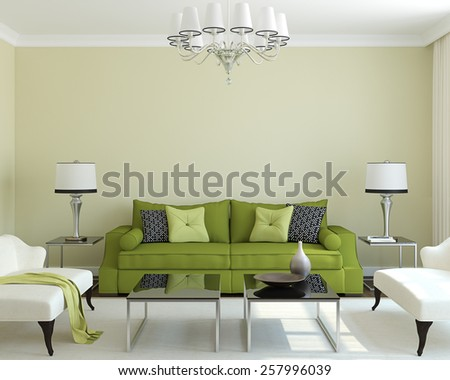 Modern living-room interior with green couch.3d render. - stock photo