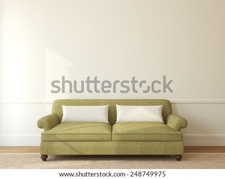 Modern living-room interior with green couch near empty beige wall. 3d render. - stock photo