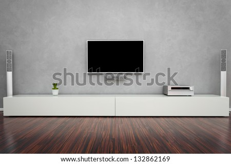 Modern Living Room Interior with Home-Entertainment - stock photo