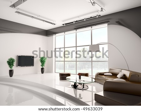 Modern living room interior with round sofa and lcd 3d