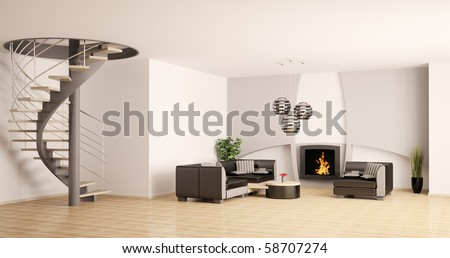 Modern living room interior with spiral stair and fireplace 3d - stock photo