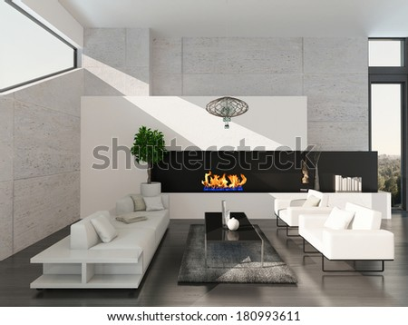 Modern living room interior with stone wall and fireplace - stock photo