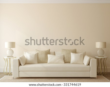 Modern living-room interior with white couch near empty beige wall. 3d render.  - stock photo