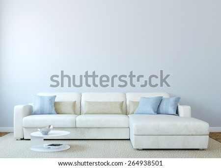 Modern living-room interior with white couch near empty blue wall. 3d render.  - stock photo