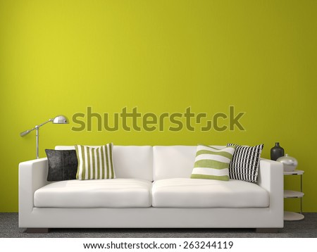Modern living-room interior with white couch near empty green wall. 3d render. - stock photo