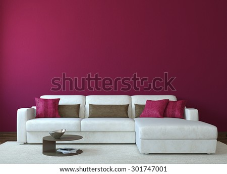 Modern living-room interior with white couch near empty red wall. 3d rendering. - stock photo