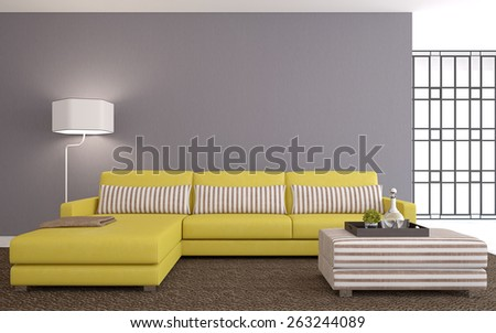 Modern living-room interior with yellow couch near empty gray wall. 3d render. - stock photo