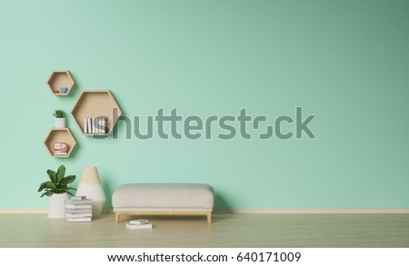 Modern Living Roomornamental Plants On Empty Wallinterior Background 3D Rendering
