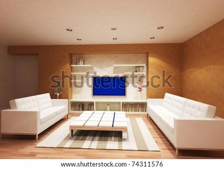 modern living room - rendering - stock photo